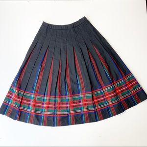 Vintage Pendleton Pleated Plaid Midi Skirt Wool